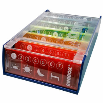 Gyógyszeradagoló piktogrammal (szivárvány), 7 napos, napi 5 rekesz, Anabox