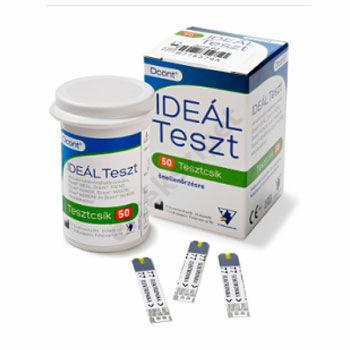 Ideal tesztcsík Dcont Trend, Magor, Monda, Hunor, Nemere, Ideal vércukorszintmérőhöz, 50 db/doboz