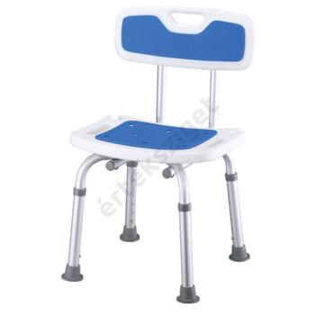 Tusolószék háttámlával, állítható magasságú csúszásmentes felülettel és lábakkal, kék, Prim