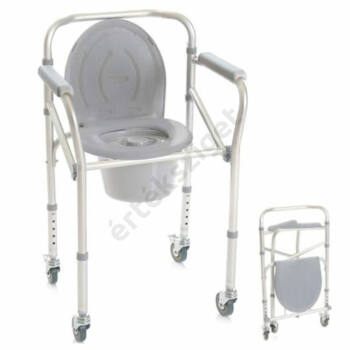 Gördíthető és összecsukható szoba wc fékezhető kerékkel, 130 kg-ig, Alugor