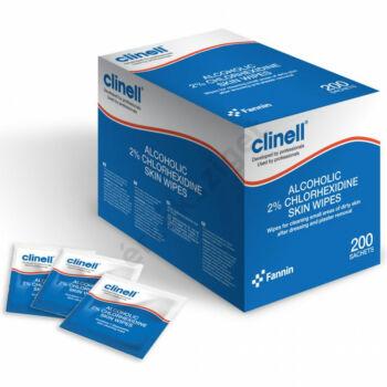 Clinell alkoholos törlőkendő bőrre 2% klórhexidinnel, egyenként csomagolva, 10x10cm, 200db