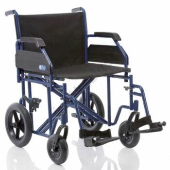 Acél összecsukható betegszállító kerekesszék extra teherbírással, Drive Transport Plus Go 200kg-ig