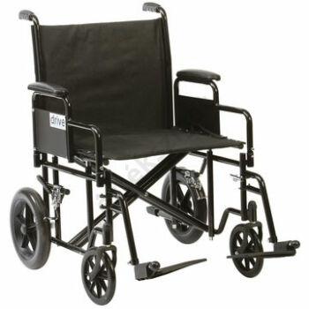 Acél összecsukható betegszállító kerekesszék extra teherbírással, Drive 200kg-ig