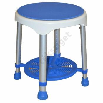 Forgatható tetejű tárolós tusolószék, kerek, kék